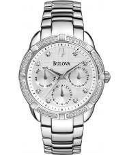 Bulova 96R195 Ladies Diamond Silver Steel Bracelet Chronograph Watch