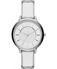 Armani Exchange AX5300 Ladies White Leather Strap Dress Watch