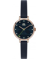 Orla Kiely OK2036 Ladies Ivy Navy Leather Strap Watch