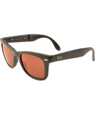 RayBan RB4105 50 Folding Wayfarer Matte Black 601S2K Dark Red Mirrored Sunglasses