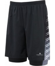 "Ronhill RH-001634R848-S Mens Advance All Black Running 7"" Shorts - Size S"