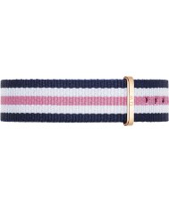 Daniel Wellington DW00200034 Ladies Classic Southampton 36mm Rose Gold White Blue and Pink Nylon Spare Strap