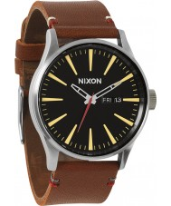 Nixon A105-1019 Sentry Leather Black Brown Watch