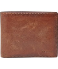 Fossil ML3687200 Mens Derrick Brown RFID Wallet with Large Coin Pocket