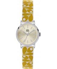 Orla Kiely OK2037 Ladies Patricia Acorn Print Yellow Cream Leather Strap Watch