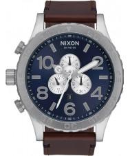 Nixon A124-2301 51-30 Brown Leather Strap Chronograph Watch