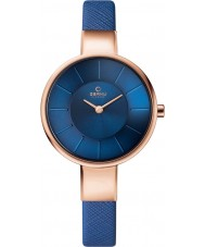 Obaku V149LXVLRA Ladies Blue Calf Leather Strap Watch
