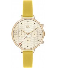 Orla Kiely OK2038 Ladies Ivy Gold Chronograph Yellow Leather Strap Watch