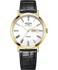 Rotary GS90156-01 Mens Les Originales Windsor Gold Plated Black Leather Strap Watch