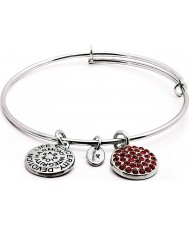 Chrysalis CRBT0107SP Rhodium Plated Expandable Bangle with Ruby Swarovski Crystals