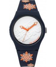 Superdry SYG165UY Urban Flake Dark Blue Watch with Fluro Orange Snow Flake Print
