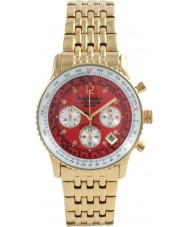Krug-Baumen 400105DS Air Traveller Red Dial Steel-Gold Strap