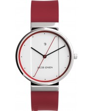 Jacob Jensen 756 Mens New Series White Red Watch