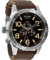 Nixon A124-1019 51-30 Brown Leather Strap Chronograph Watch