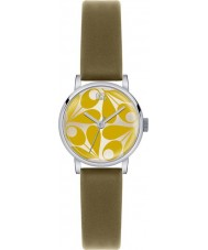 Orla Kiely OK2039 Ladies Patricia Yellow Acorn Print Olive Leather Strap Watch