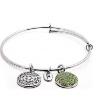 Chrysalis CRBT0108SPSML Rhodium Plated Expandable Bangle with Peridot Swarovski Crystals
