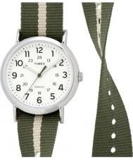 Timex Originals TW2P72100 Weekender Slip Thru Olive and Cream Stripe Reversible Strap Watch