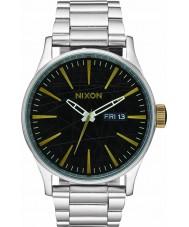 Nixon A356-2222 Mens Sentry SS Black Brass Watch