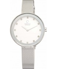 Obaku V161LXCIMC Ladies Stone Set Silver Tone Mesh Bracelet Watch