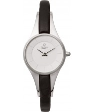 Obaku V110LXCIRB Ladies Silver Tone Skinny Black Leather Strap Watch