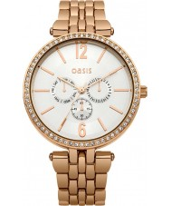 Oasis B1513 Ladies White and Rose Gold Tone Bracelet Watch