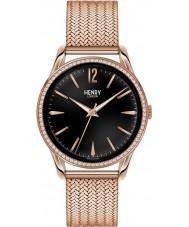 Henry London HL39-SM-0030 Ladies Richmond Black Rose Gold Watch with Swarovski Elements