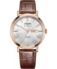 Rotary GS90157-02 Mens Les Originales Windsor Rose Gold Plated Brown Leather Strap Watch