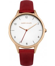 Karen Millen KM147RRG Ladies Red Leather Strap Watch