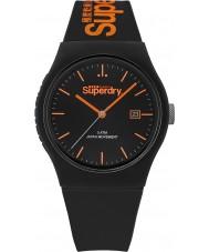 Superdry SYG168OB Urban Black Silicone Strap Watch with Orange Print