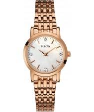 Bulova 97S106 Ladies Diamond Rose Gold Plated Bracelet Watch