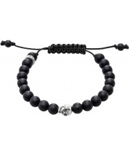 Thomas Sabo A1118-172-11-L Black Obsidian Beaded Bracelet with Silver Skull