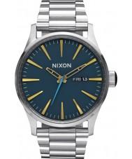 Nixon A356-2076 Mens Sentry SS Navy Brass Tapered Strap Watch