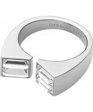 Dyrberg Kern 339078 Ladies Cadre III Silver Steel Ring with Swarovski Elements - Size Q