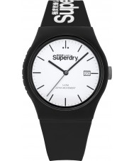 Superdry SYG168WB Urban Black Silicone Strap Watch with White Print