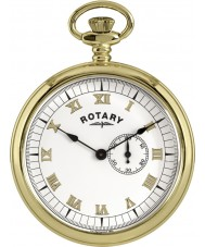 Rotary MP00731-01 Mens Gold Plated Pocket Watch with Chain
