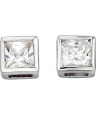 Charles Conrad E2932C Ladies Square Clear CZ Silver Stud Earrings
