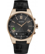 Guess Connect C0002MB3 Mens Black Leather Strap Smart Watch