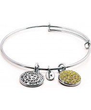 Chrysalis Rhodium Plated Expandable Bangle with Citrine Swarovski Crystals