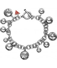 Guess UBB80812 Ladies Multi-Beaded Charm Silver Bracelet