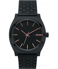 Nixon A045-957 Mens Time Teller All Black Rose Gold Tapered Strap Watch