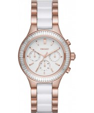 DKNY NY2498 Ladies Chambers Chronograph White Ceramic Links Rose Gold Watch