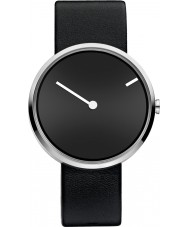 Jacob Jensen 251 Curve Black Leather Strap Watch
