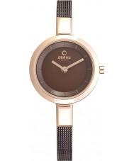 Obaku V129LXVNMN Ladies Rose Gold Skinny Brown Mesh Bracelet Watch