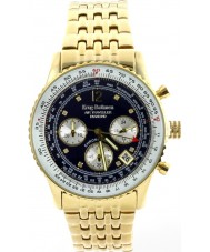 Krug-Baumen 400104DS Air Traveller Diamond Blue Dial Gold Plated Strap