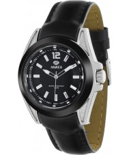 Marea 54048-1 Mens Fashion Black Piel Leather Strap Watch