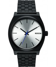 Nixon A045-180 Mens Time Teller Black Silver Tapered Strap Watch