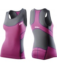 2XU WT2321A-CHR-UVT-XS Ladies Charcoal and Ultra Violet Compression Tri Singlet - Size XS