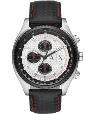 Armani Exchange AX1611 Mens Black Leather Strap Chronograph Sports Watch