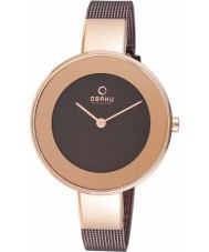 Obaku V167LXVNMN Ladies Rose Gold Plated Brown Mesh Bracelet Watch