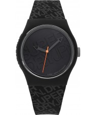 Superdry SYG169B Urban Black Silicone Strap Watch with Printed Logo in Grey